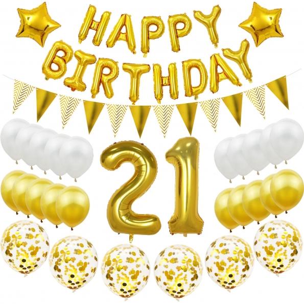 Birthdays Decoration White Gold Sequins