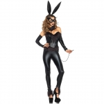 Bunny Halloween Costumes Faux Leather Sexy Bodysuit
