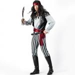 Black and White Striped Captain Jack Pirate Men Costume
