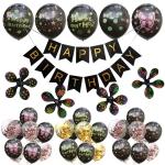 Birthday Balloons Black Letter Dot Printing