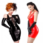 Plus Size Sexy Halloween Costumes Bright Leather Dress