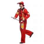 Military Costume Men Red Fire Suit