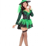 Sexy Halloween Costumes Deep V Green Witch Dress