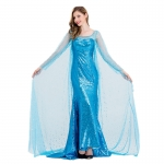 Women Halloween Costumes Aisha Dress Ice And Snow Blue Sequins Style