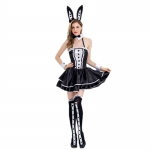 Halloween Costume Black Bunny Girl Dress