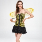 Women Halloween Costume Yellow Striped Insect Style