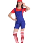 Women Halloween Costumes Super Mario Game Uniform