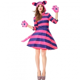 Women Halloween Cat Costumes Cute Striped Grinning Cat Short Dress