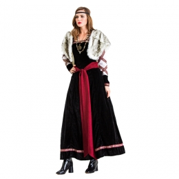 Women Halloween Pirate Costumes Female Warrior With Cape Dress