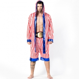 Men Funny Halloween Costumes Stripe Boxing Suit