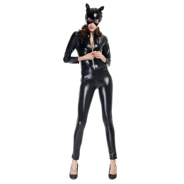 Patent Leather Cat Girl Motorcycle Costume