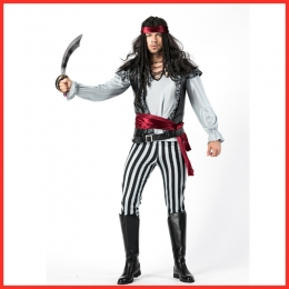 Halloween Costumes Caribbean Men Pirate Jack Captain Game Clothes