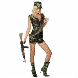 Women Halloween Costumes Soldier Camouflage Dress