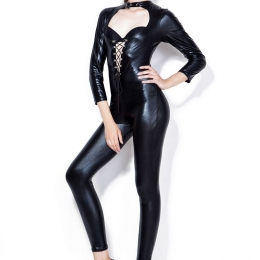 Sexy Halloween Costumes Patent Leather One-piece Suit