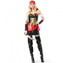 Women Halloween Costumes Pirate Captain Cosplay Role Clothes