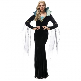 Women Halloween Witch Costumes Witch Queen Black Dress