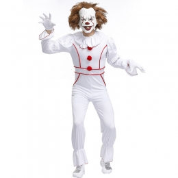 Men Scary Halloween Costumes Ghost Doll Clown Suit