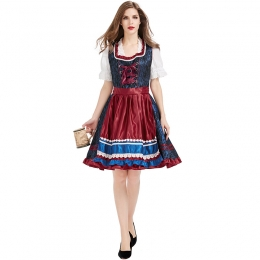 Blue and red German Oktoberfest Women Costume