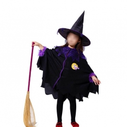 Toddler Witch Costume Cloak Spider Web Pattern