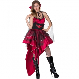 Women Halloween Scary Bat Costumes Dark Red Dress