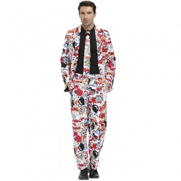 Men Halloween Clown Costumes Surprise Bomb Pattern Printing Style