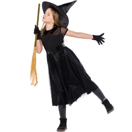 Black Mesh Little Witch Girl Costume