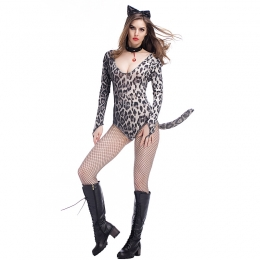 Women Costumes Leopard Print One-piece Cat Cute Sultry Style