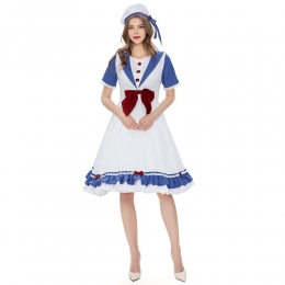 Women Halloween Military Costumes Lolita Alice Maid Navy Outfit