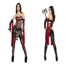 Women Halloween Costumes Leather Greek Gladiator Suit