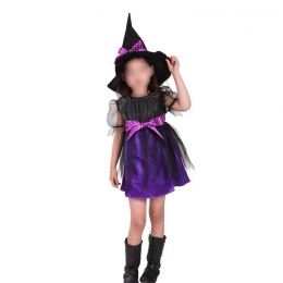 Witch Costume Kids Purple Net Yarn