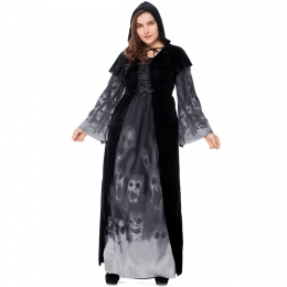Plus Size Skull Print Witch Vampire Costume