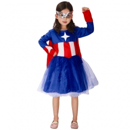 Captain America Cosplay Costume Girls Dress