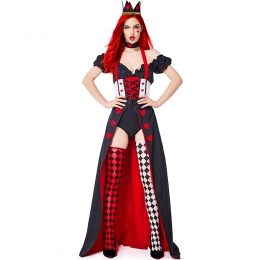 Women Sexy Halloween Costumes Queen Of Hearts In Wonderland High Fork Tail Skirt