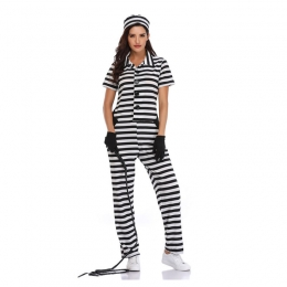 Halloween Policewoman Costumes Jumpsuit Stripes Style