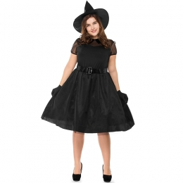 Plus Size Black Gauze Witch Costume