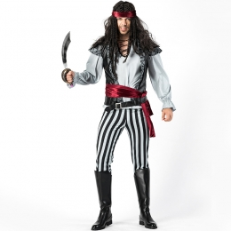 Black and White Striped Captain Jack Pirate Men Costume