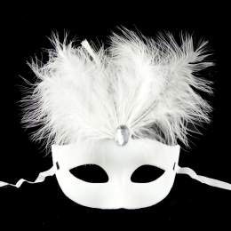 Halloween Mask Masquerade Lace Pointed Feather