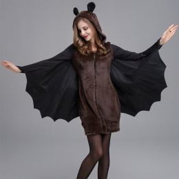 Womens Halloween Costumes Hooded Dress Bat Style