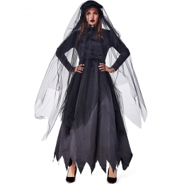 Black Zombie Ghost Bride Women Costume